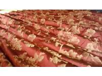 Gold & maroon silk curtains