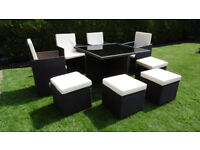 New Rattan Weave Dining CUBE Table Set 8 Seater Garden Conservatory Furniture 9 PCS