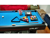 ** SOLD ** 6ft Riley Pool Table - 3 cues, cue rack, pool & snooker balls, triangle, chalk, etc