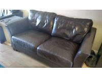 3 piece suite, sofa Chocolate brown 100% real leather Vgc
