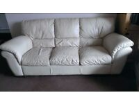 Sofa 3-seater leather cream £40