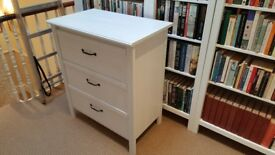 Small white wooden chest of drawers for sale - £25