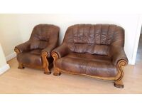 2 seater brown leather sofa + brown leather armchair