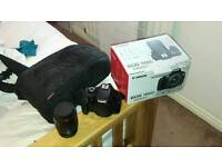 Canon eos 1100d with lens, bag and sd card