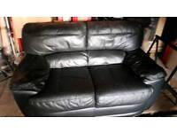 Black 2 seater genuine italian leather black sofa