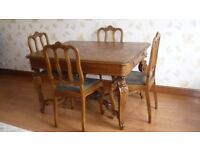 Antiqe French carved oak dinning table and 4 chairs
