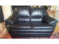 Leather sofa. Black. 2 seater