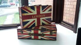 """NEW - STRIKING UNION JACK DECORATIVE STORAGE/DISPLAY CASES WITH """"THE LONDON LOOK""""."""