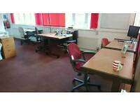 Office desks and filing cabinet available free of charge collection only