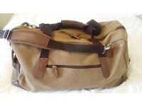 John Lewis Leather Canvas weekend travel bag