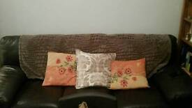 Three seater choclate brown leather couch in excelent condition (dfs) collect only