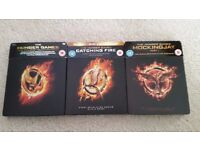 The Hunger Games Steelbook Blu Ray films - Hunger Games, Catching Fire, Mockingjay Part 1