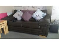 Brown Leather Sofa 3 piece suite