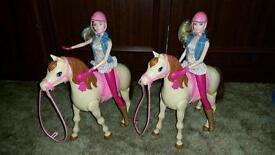 Barbie saddle n ride horse and doll