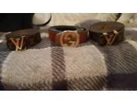 Louis vuitton and gucci belt