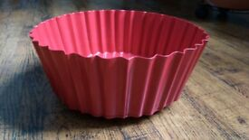 Red enamel decorative scalloped bowl / fruit bowl from Ikea