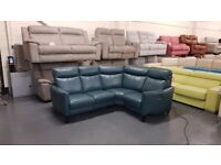Compact Collection Pe Turquoise Leather Electric Recliner Corner Sofa