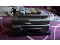 sanyo video recorder, thomson sky box, targa dvd player, and free view box