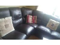 For sale brown leather corner sofa with two recliner in excellent condition.