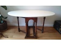 Shabby chic solid wood drop leaf table