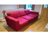 Red habitat 3 seater sofa fully washable covers