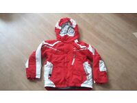 Boy's red and white Decathlon Wed'ze ski jacket age 8 122-133cm