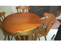 Solid wood country cottage table and 4 chairs