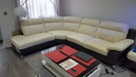 DFS LEATHER CORNER SUITE WITH FOOTSTOOL CHROME LEGS / SOFA / MODERN SETTEE DELIVERY AVAILABLE
