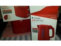 Toaster and Kettle red