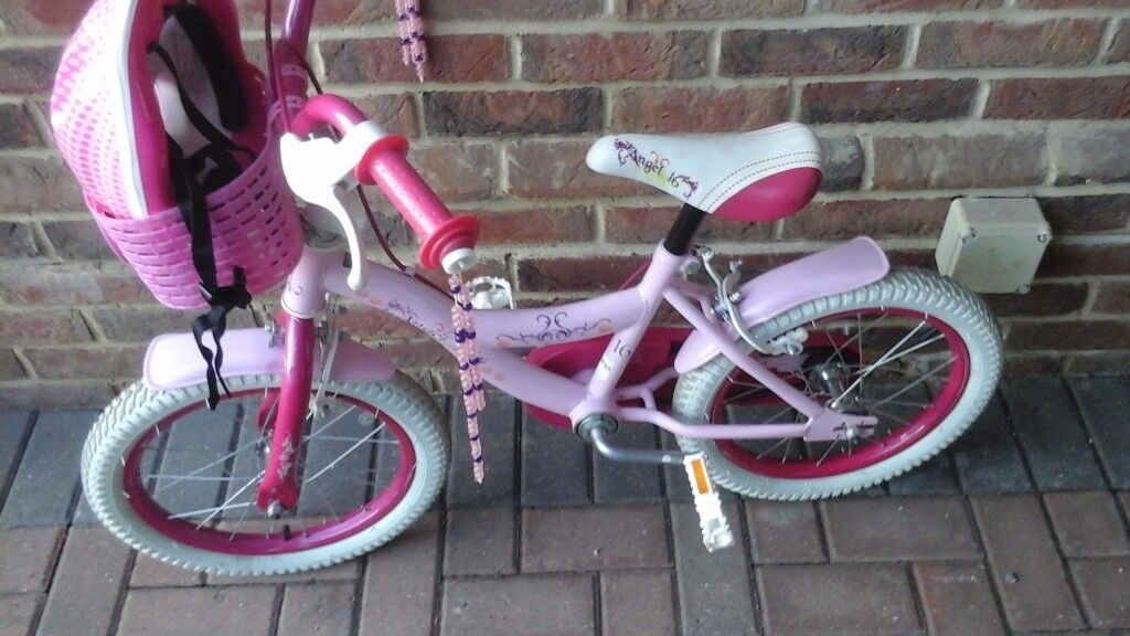 """Girls Pink 16"""" Bike with stabelizers and helmet"""