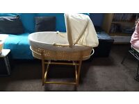 Mothercare Moses Basket and Matching Bath