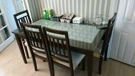 Dining Table with 4 Chairs and Glass Top