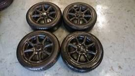 """Mazda MX5 14"""" 4x100 alloy wheels + 2 tyres track drift spare clearnace bargain"""