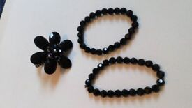 black gloss bead dress jewellery matching set two bracelets and a flower ring