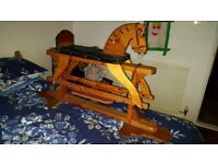 Large vintage wooden rocking horse