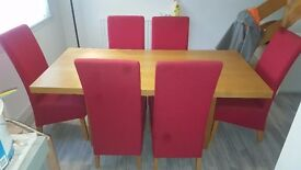 Harveys 6 seater dining table and chairs.