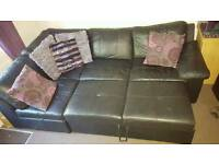 Corner sofa black leather bed double