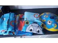 Thomas the tank engine bedding, lighshade and curtains