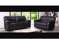 New Black 2 Seater faux leather sofa (Free local delivery)