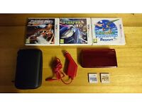NINTENDO 3DS [metallic red] - With 5 TOP games [Mario Bros 2, Mario Kart 7...] Case, Charger & Dock