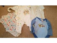 Bundle baby grows and vests, aged 0-3 months.