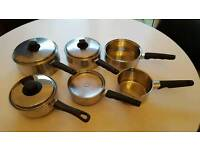 Set of 6 stainless steel saucepans