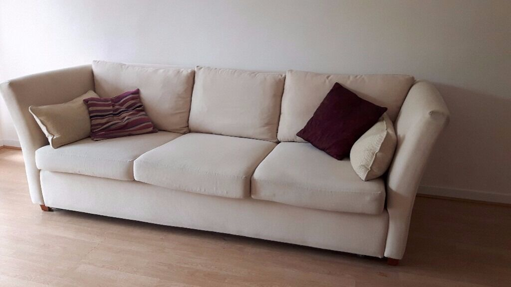 sturdy cream 3 seater sofa bed with sprung mattress With sturdy sofa bed