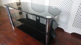 EXCELLENT CONDITION BLACK GLASS TV UNIT H 54CM X W 105CM X D 45CM