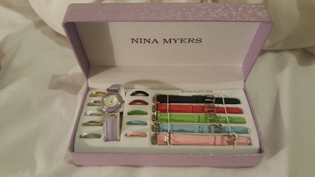NINA MYERS MULTI COLOUR WATCH GIFT SET WITH STRAPS INTERCHANGEABLE STRAPS  STOCKING FILLER  d6cf1f836807