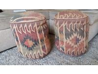 2X Ikat pouffes filled with good quality material