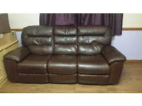 Sofa in leather three seaters x two with electric recliners