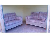 RATTAN CONSERVATORY SET,TWO 2 SEATER SOFAS & AN ARM CHAIR..COST £1,500 NEW, GREAT CONDITION