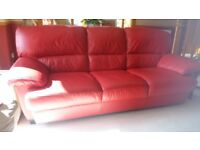 Red Leather Sofa and Armchair. Very good condition, as new