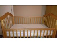 Cot and mattress with drop down side